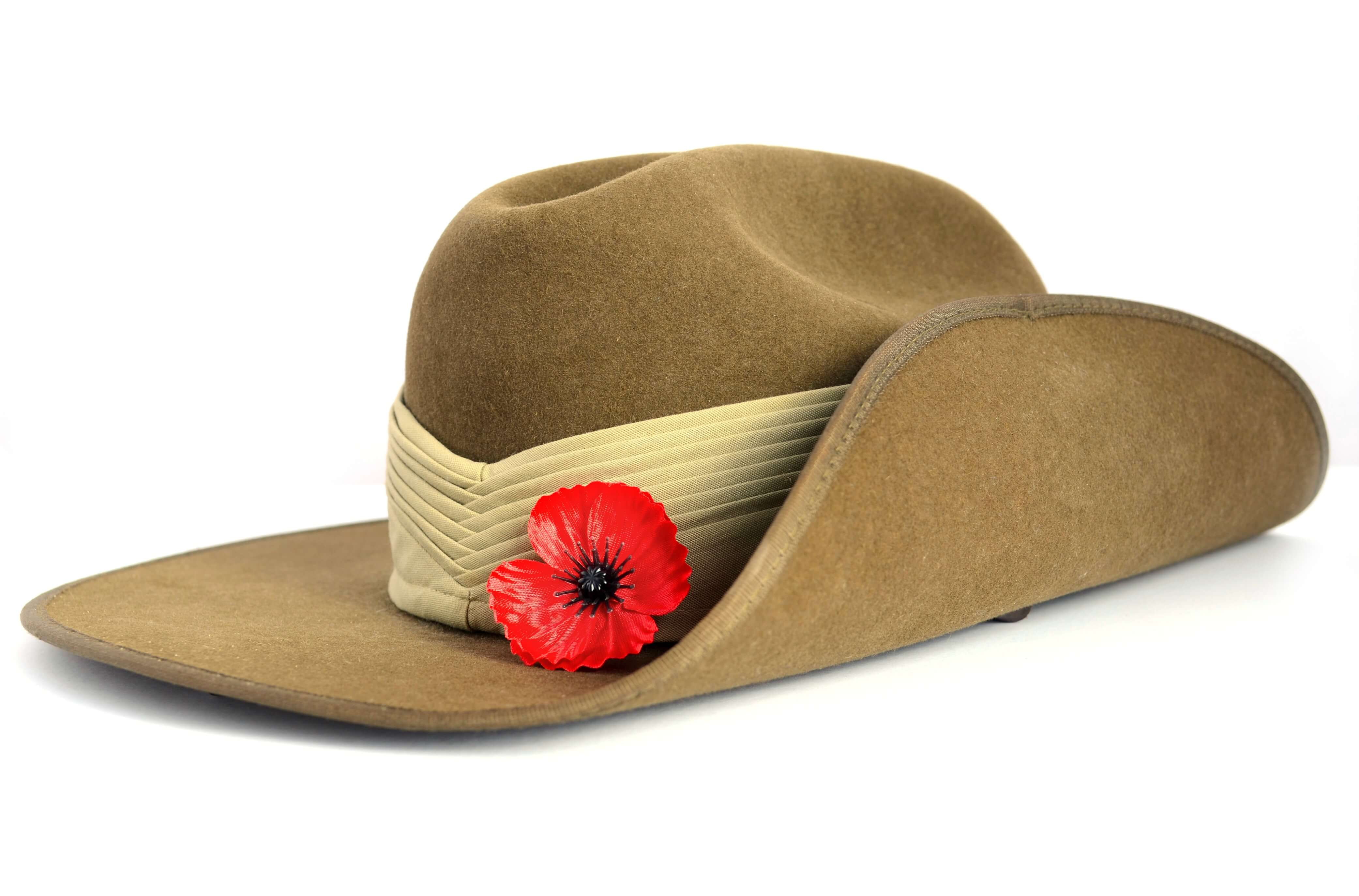 ANZAC Day hat with red poppy