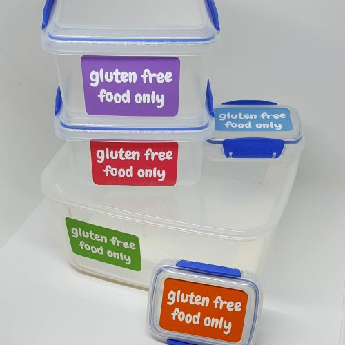 Gluten free food only sticker front view - all colours