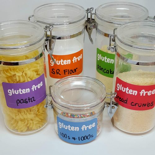 Gluten free (item) sticker front view - all colours
