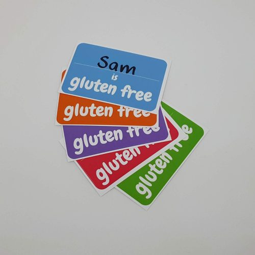 (name) is gluten free sticker on t-shirt - all colours