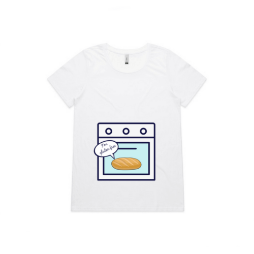 Gluten free bun in the oven tee in white