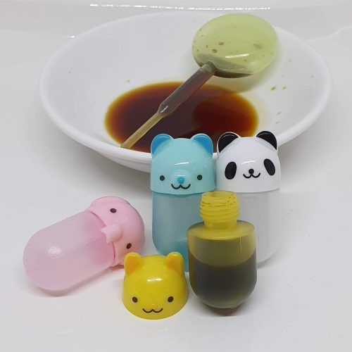 Cute animal lunch box gluten free sauce containers 4pk 4ml with soy sauce dropper, great for travel too