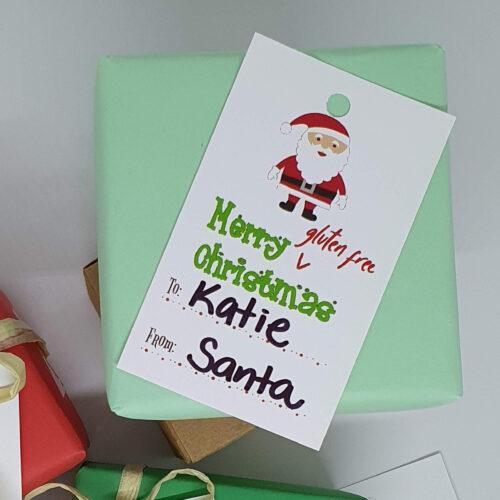 Merry Gluten Free Christmas gift tags Santa