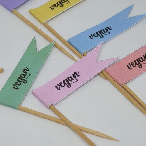 Toothpick food flags vegan close up