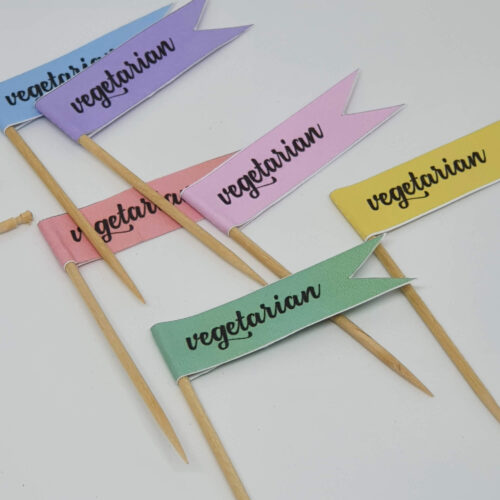 Toothpick food flags vegetarian close up