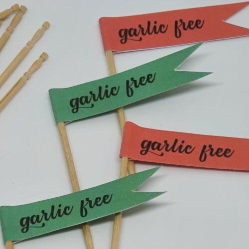 Toothpick food flags Christmas garlic free close up