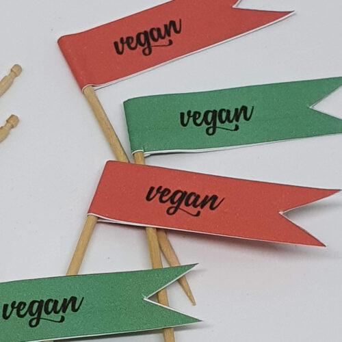 Toothpick food flags Christmas vegan close up