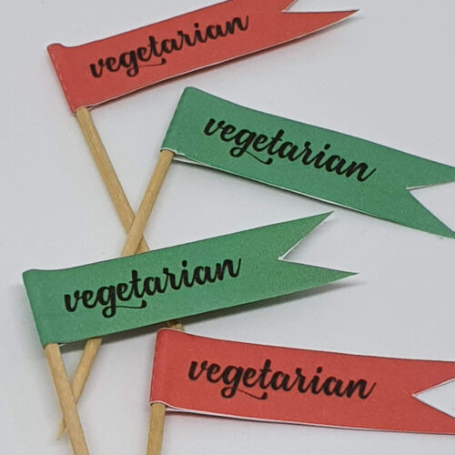Toothpick food flags Christmas vegetarian close up